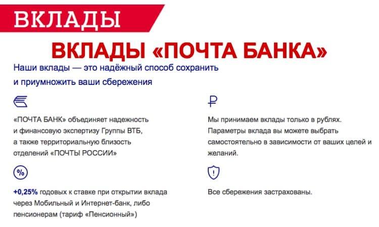 Вклады Почта Банка Капитальный, Доходный и Накопительный - подробности